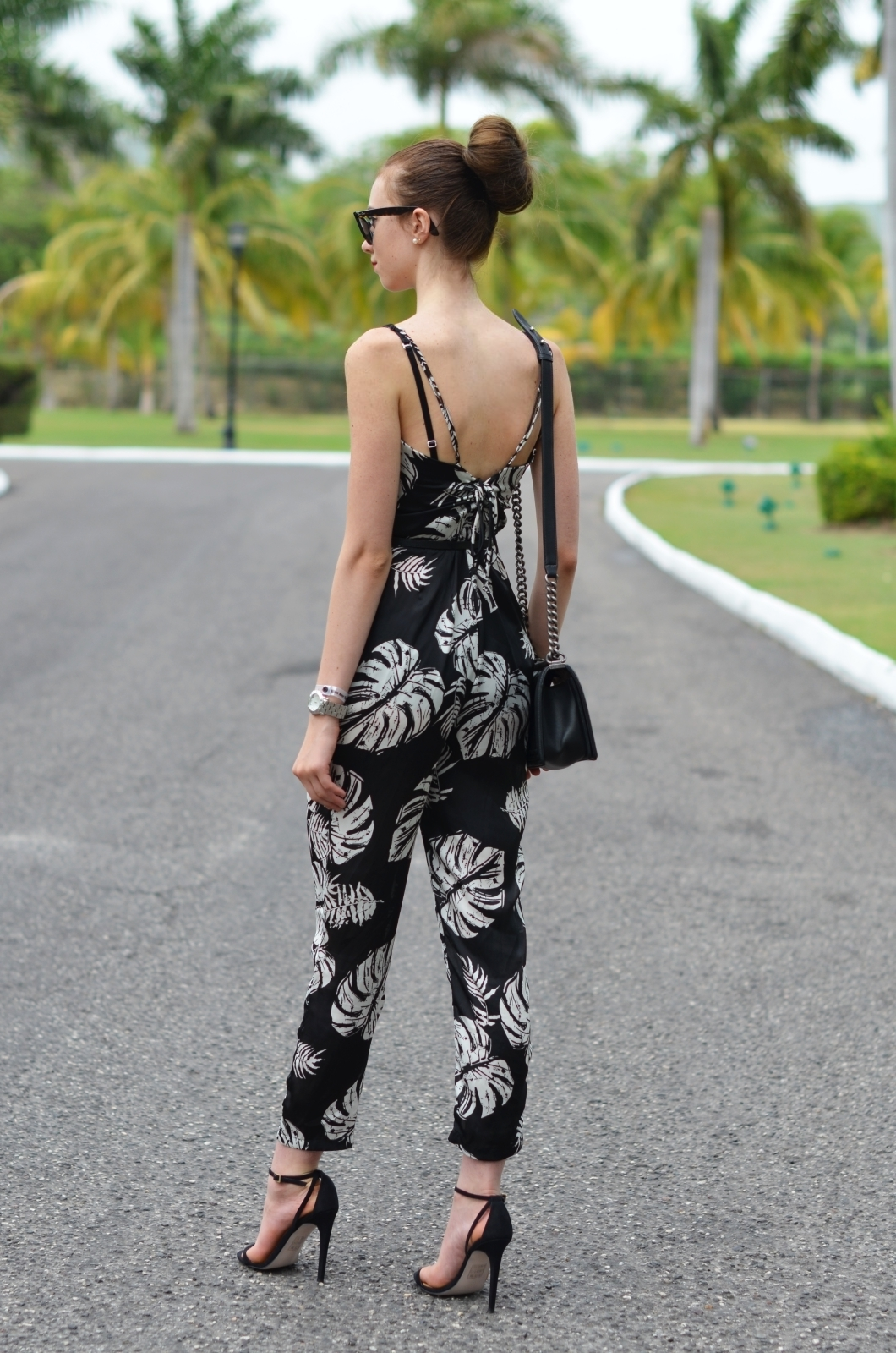 db0874532bd Women s Black and White Print Jumpsuit