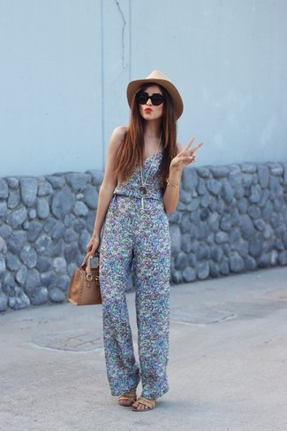 How to wear: light blue print jumpsuit, tan leather heeled sandals, tan leather tote bag, khaki wool hat