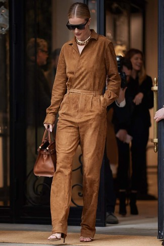 How to wear: tobacco suede jumpsuit, brown leather heeled sandals, brown leather tote bag, black sunglasses