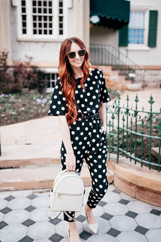 How to wear: black and white polka dot jumpsuit, white leather loafers, white leather backpack, black woven leather belt