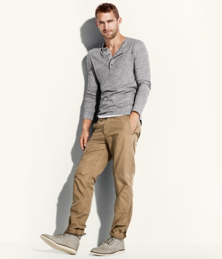 Mens Khaki Chinos Grey Henley Shirt And Suede Boots