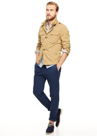 Men's Khaki Military Jacket, Light Blue Chambray Long Sleeve Shirt, Navy Chinos, Navy Suede Derby Shoes