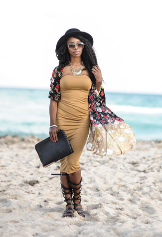 How to wear: black floral kimono, tan bodycon dress, black leather knee high gladiator sandals, black leather clutch