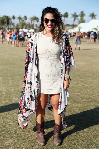 How to wear: white floral kimono, beige bodycon dress, dark brown leather mid-calf boots, brown leopard sunglasses