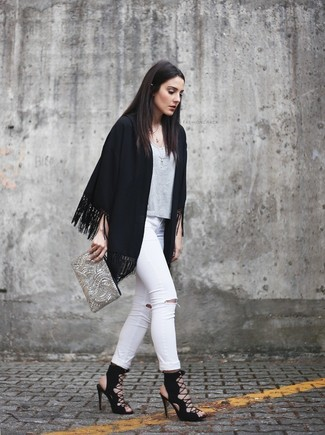 How to wear: black fringe kimono, grey crew-neck t-shirt, white ripped skinny jeans, black suede gladiator sandals