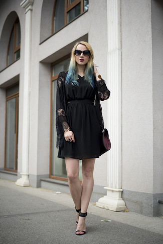 How to wear: black lace kimono, black tulle party dress, black suede heeled sandals, dark purple leather crossbody bag
