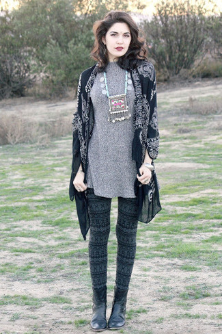 How to wear: black print kimono, grey sweater dress, dark green leggings, black leather ankle boots