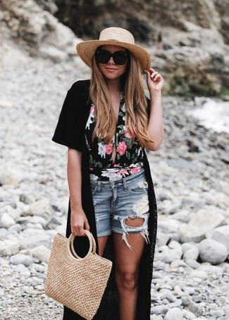 How to wear: black kimono, black floral swimsuit, light blue ripped denim shorts, tan straw tote bag