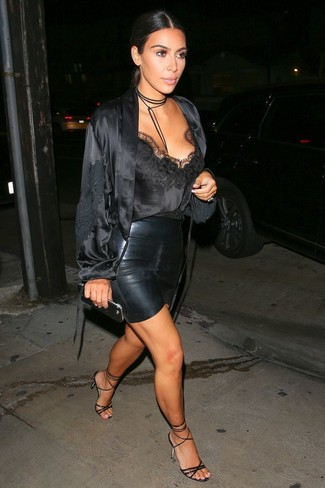 T By Black Leather Miniskirt