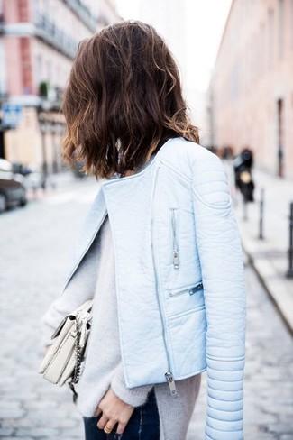 ba85354579c3 Women s Light Blue Leather Biker Jacket