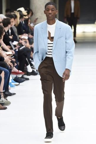 How to wear: light blue blazer, white horizontal striped crew-neck t-shirt, dark brown dress pants, dark brown leather low top sneakers