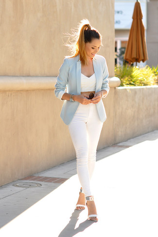 How to wear: light blue blazer, white cropped top, white skinny jeans, white leather heeled sandals
