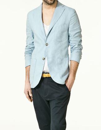 Men's Light Blue Linen Blazer, White V-neck T-shirt, Charcoal ...