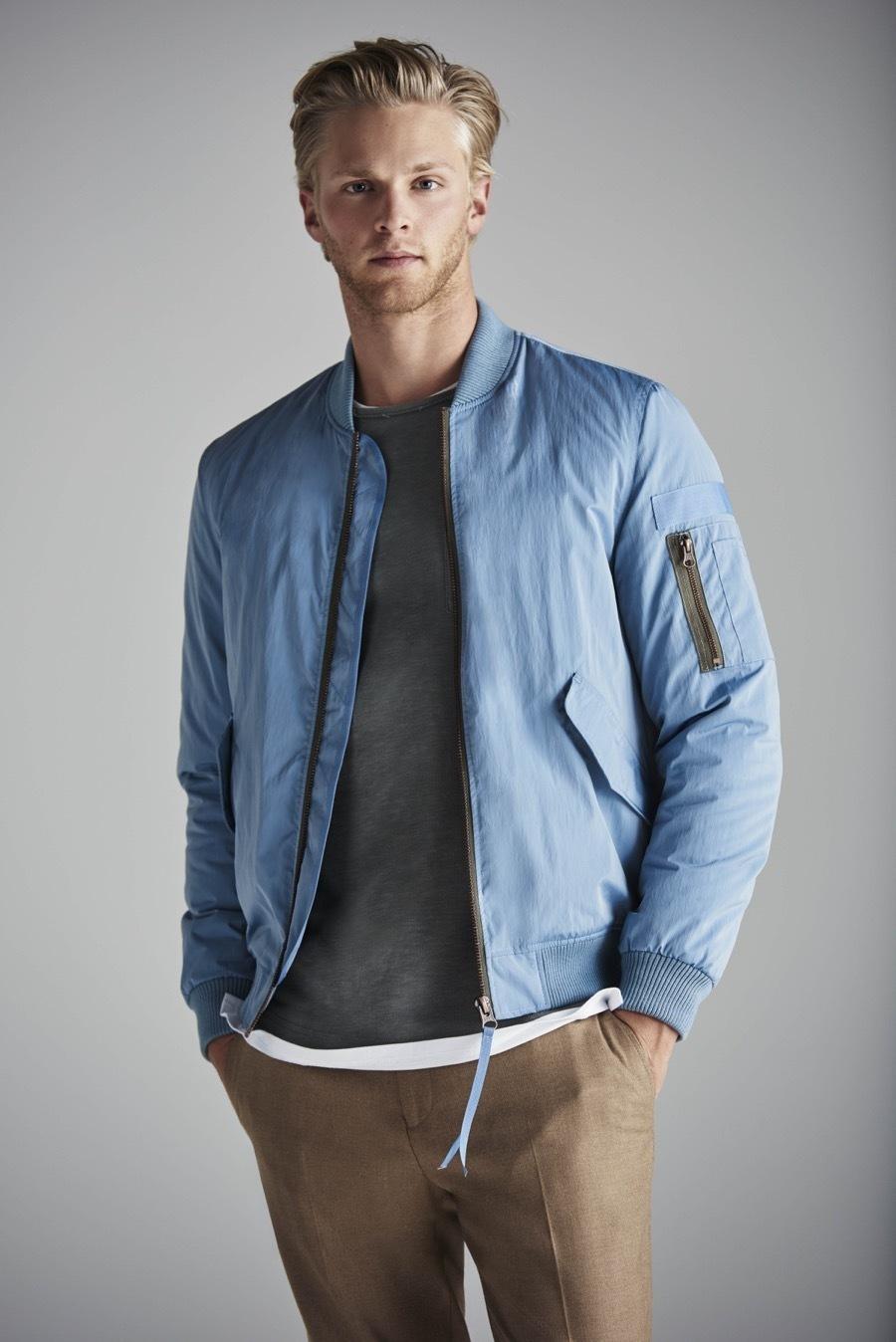 Mens jacket light blue - Reach For A Light Blue Bomber Jacket And Camel Dress Pants Like A True Gent
