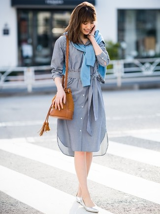 How to wear: light blue cardigan, navy vertical striped shirtdress, silver leather ballerina shoes, tobacco suede bucket bag