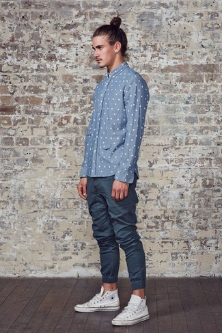 Men 39 S Light Blue Polka Dot Chambray Long Sleeve Shirt Navy Sweatpants White High Top Sneakers