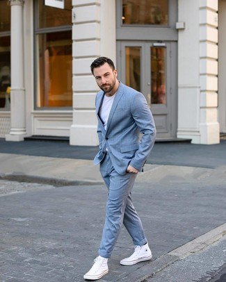 How to wear: light blue check suit, white crew-neck t-shirt, white canvas high top sneakers