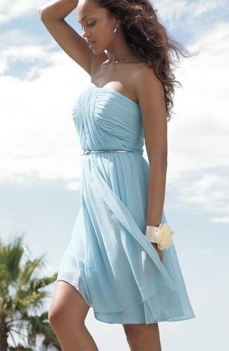 Women\'s Light Blue Chiffon Party Dress, Silver Waist Belt, Beige ...