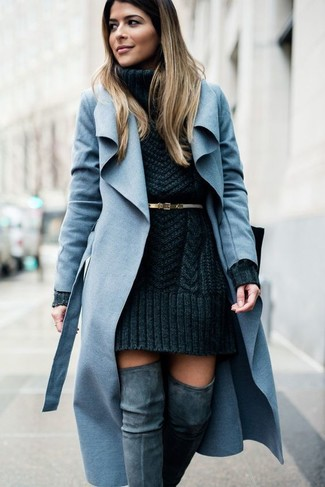 How to wear: light blue coat, charcoal knit sweater dress, grey suede over the knee boots, gold leather belt