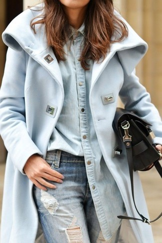 This combination of a light blue coat and baby blue distressed boyfriend jeans is perfect for off-duty occasions.
