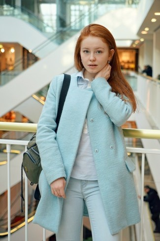 Try teaming a baby blue coat with light blue jeans for both chic and easy-to-wear look.