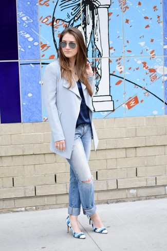 How to wear: light blue coat, navy silk tank, light blue ripped boyfriend jeans, blue print leather pumps