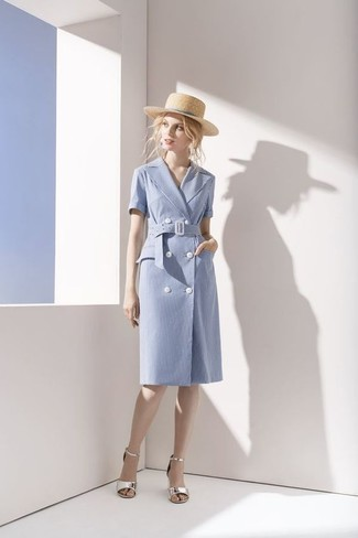How to wear: light blue cotton wrap dress, silver leather heeled sandals, beige straw hat