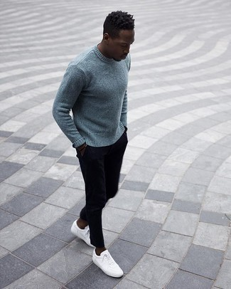 Dark Brown Bracelet Outfits For Men: A light blue crew-neck sweater and a dark brown bracelet matched together are a great match. Balance out your getup with a dressier kind of footwear, like this pair of white canvas low top sneakers.