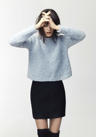 How to wear: light blue crew-neck sweater, black mini skirt, black suede over the knee boots