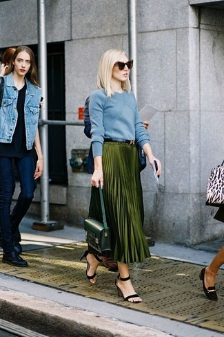How to wear: light blue crew-neck sweater, olive pleated maxi skirt, black suede heeled sandals, dark green leather satchel bag