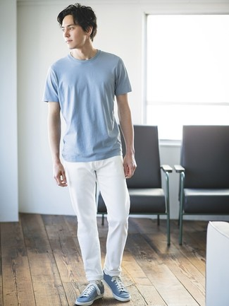 How to wear: light blue crew-neck t-shirt, white chinos, light blue low top sneakers