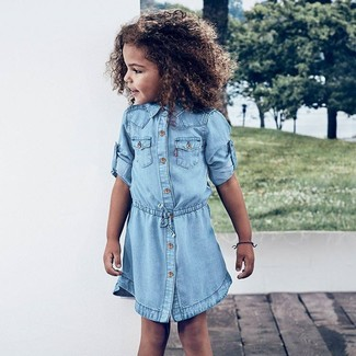 Girls' Looks & Outfits: What To Wear In a Dressy Way: Go for light blue denim dress for your little girl for a stylish and sophisticated look.