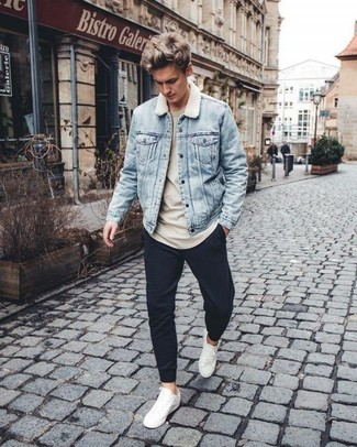 Men S Light Blue Denim Jacket Beige Sweatshirt Black Sweatpants