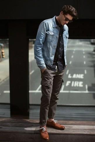 Men's Light Blue Denim Jacket, Black Long Sleeve Shirt, Charcoal ...