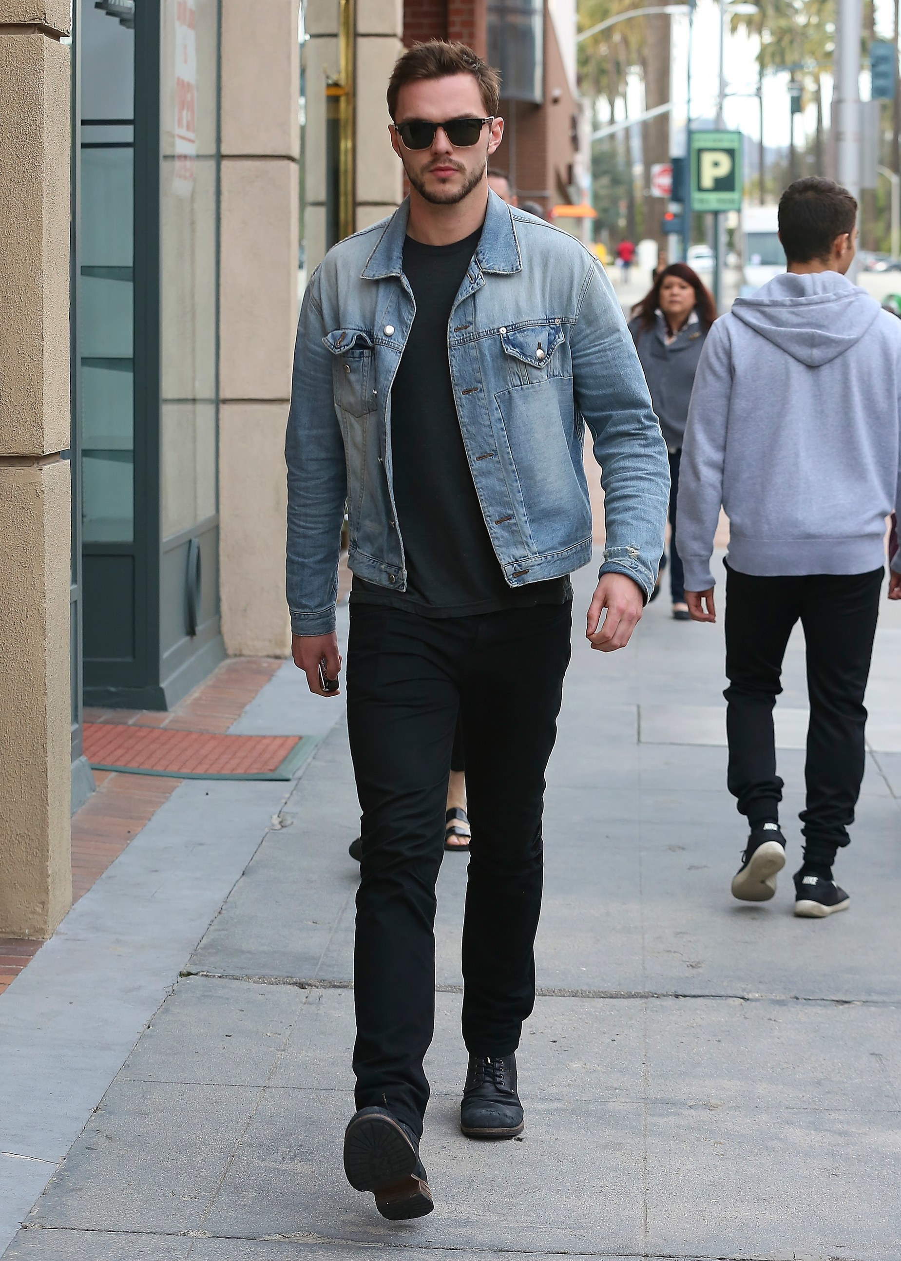 premium selection aesthetic appearance picked up Nicholas Hoult wearing Light Blue Denim Jacket, Charcoal ...