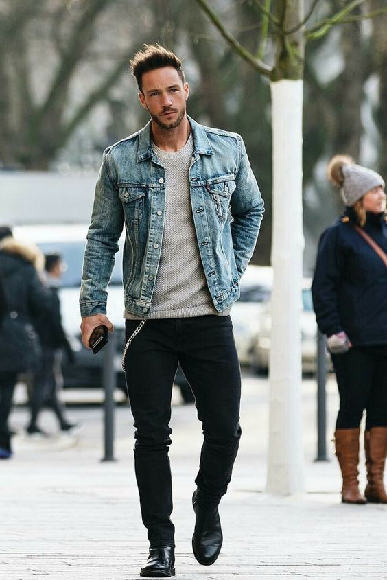 Men's Light Blue Denim Jacket, Grey Crew-neck Sweater, Black Jeans ...