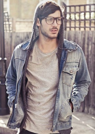 How To Wear A Grey Hoodie With A Light Blue Denim Jacket 6 Looks