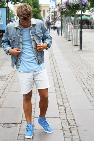 Men's Light Blue Denim Jacket, Light Blue Crew-neck T-shirt, White Denim Shorts, Aquamarine High Top Sneakers