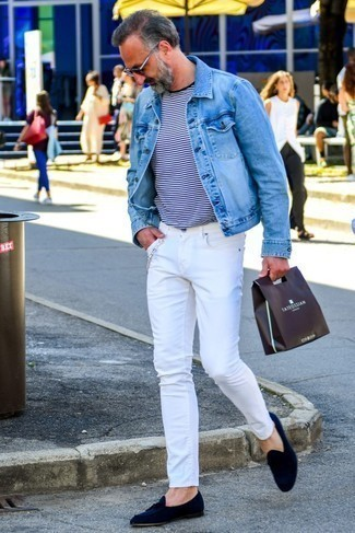 How to Wear White Jeans For Men: A light blue denim jacket and white jeans will give off this relaxed and dapper vibe. For something more on the dressier end to finish off your look, add a pair of navy suede tassel loafers to the mix.