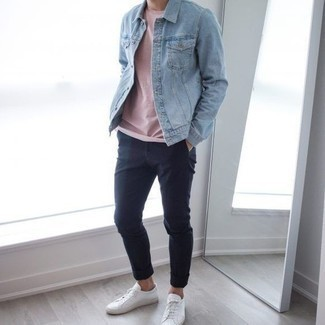 How to Wear a Light Blue Denim Jacket For Men: Pair a light blue denim jacket with navy chinos to achieve an interesting and current casual outfit. Does this look feel all-too-polished? Invite white canvas low top sneakers to jazz things up.