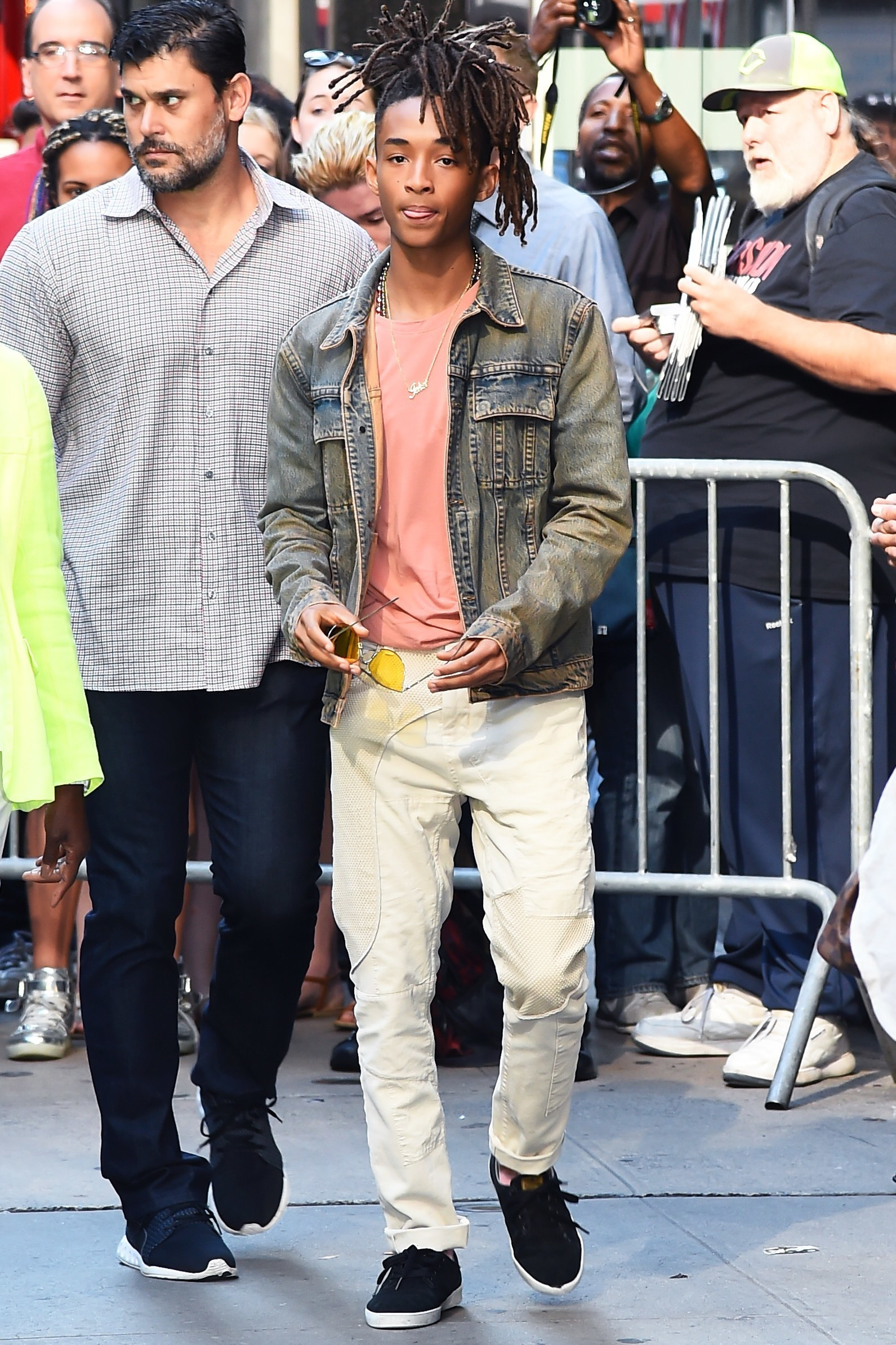 Jaden Smith Wearing Light Blue Denim Jacket Pink Crew Neck T Shirt