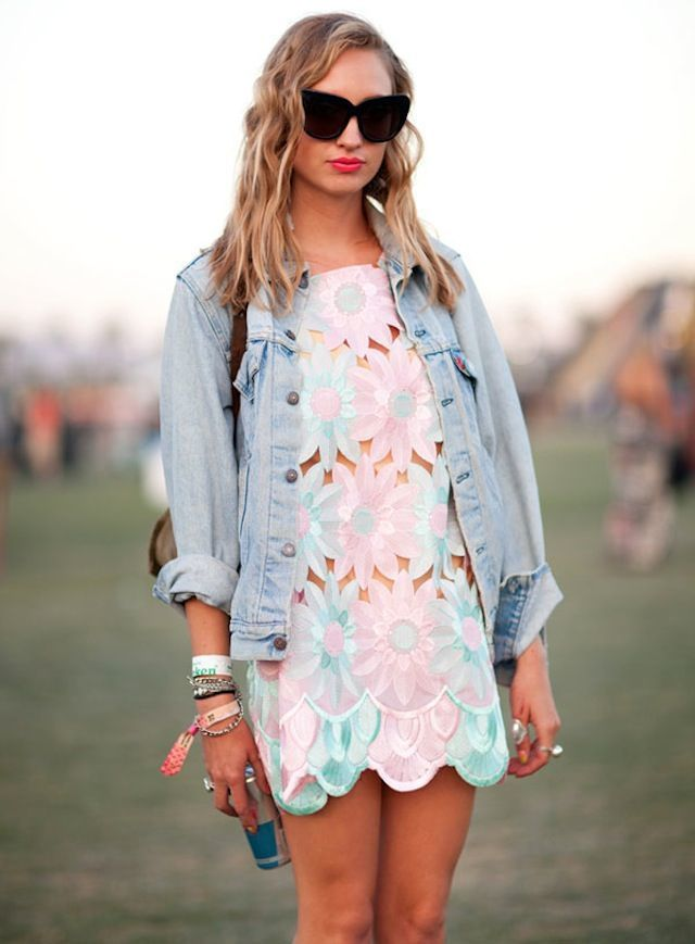 Women's Light Blue Denim Jacket, Pink Floral Casual Dress ...