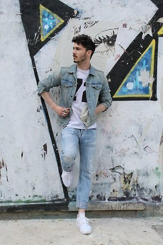 Which Denim Jacket To Wear With a White and Black Crew-neck T-shirt For Men: Go for a denim jacket and a white and black crew-neck t-shirt for a casual kind of polish. Throw white low top sneakers in the mix et voila, the look is complete.
