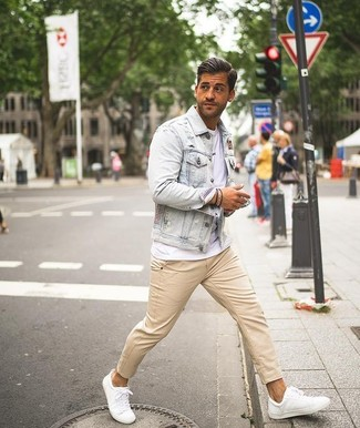 Beige Chinos With White Leather Shoes Warm Weather Outfits In Their 30s 65 Ideas Outfits Lookastic