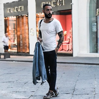 How to wear: light blue denim jacket, white crew-neck t-shirt, black chinos, black leather double monks