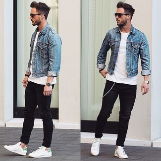 Men's Light Blue Denim Jacket, White Crew-neck T-shirt, Black ...