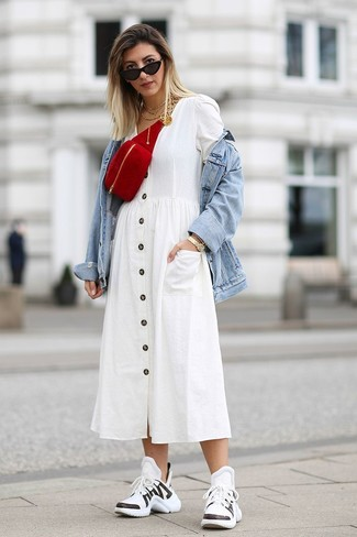 How to wear: light blue denim jacket, white shirtdress, white and black athletic shoes, red suede fanny pack