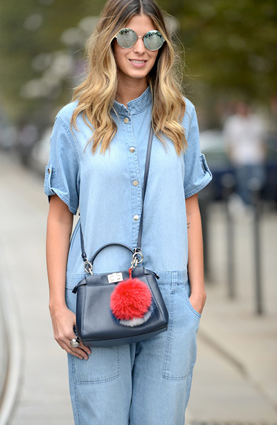 Womens Light Blue Denim Jumpsuit Navy Leather Crossbody Bag Grey