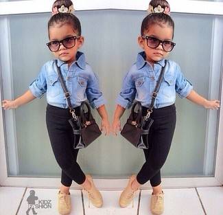 How to Wear Black Leggings For Girls: Reach for a light blue denim long sleeve shirt and black leggings for your kid to create a smart casual look. Complement this getup with tan oxford shoes.