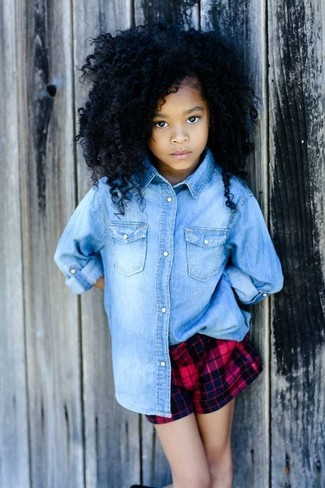 How to Wear a Light Blue Denim Long Sleeve Shirt For Girls: Suggest that your little one pair a light blue denim long sleeve shirt with red shorts for a glam and trendy getup.
